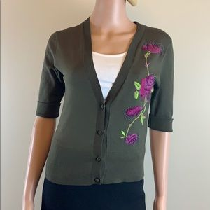 Diane DVF embroidered olive cardigan S New